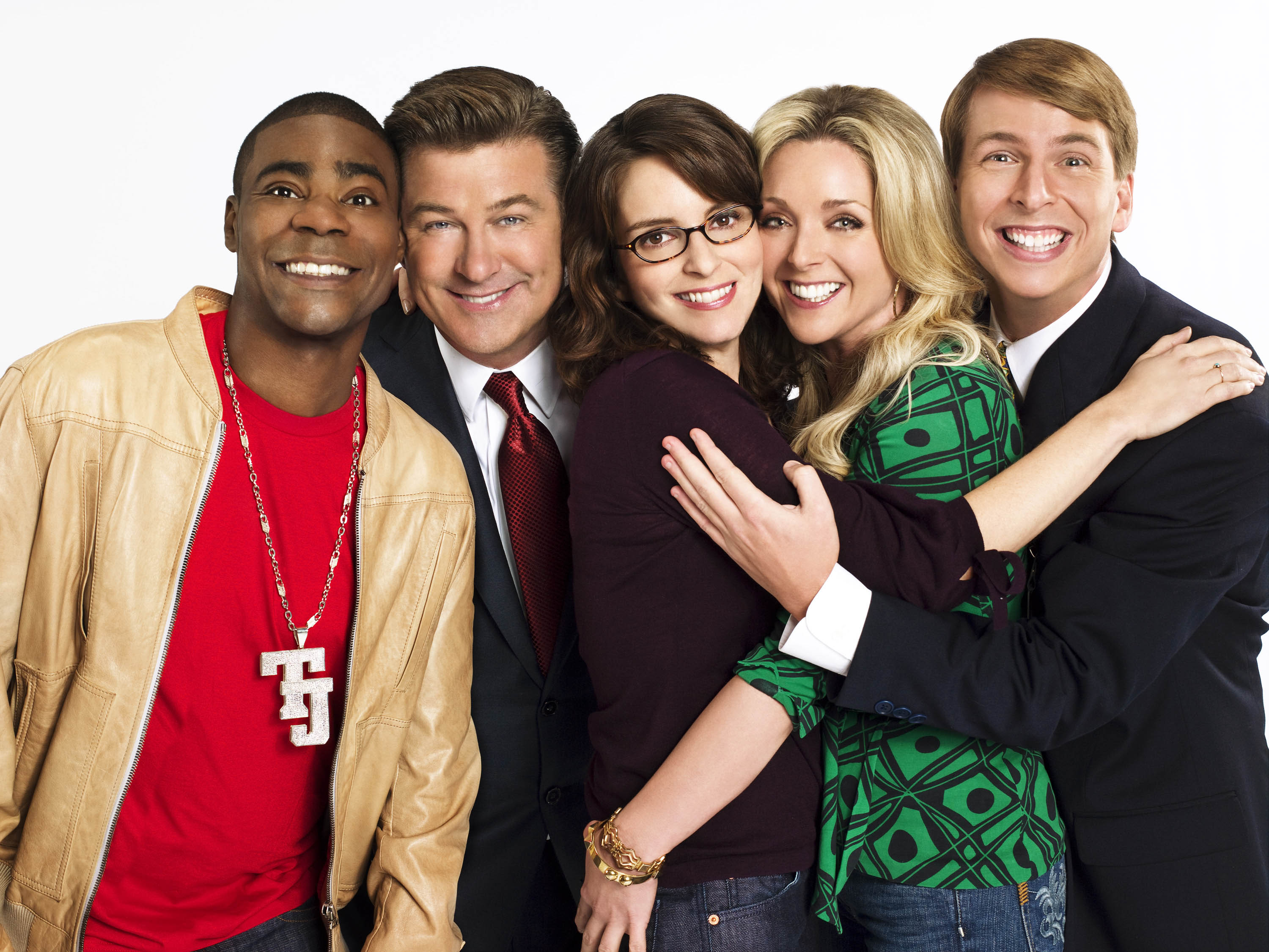 """30 Rock,"" which stars, from left, Tracy Morgan, Alec Baldwin, Tina Fey, Jane Krakowski and Jack McBrayer, took home Emmys this year for best comedy, writing (Fey) and acting (Fey and Baldwin). (NBC/MCT)"
