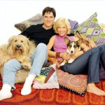 DHARMA & GREG, the popular comedy series, airs on the ABC Television Network.  Pictured:  THOMAS GIBSON AND JENNA ELFMAN WITH STINKY AND NUNZIO